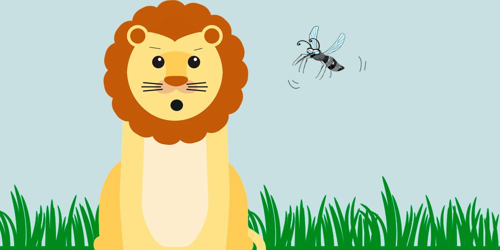 Fábula sobre la humildad para niños: El león y el mosquito luchador