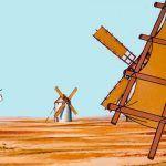 La aventura de Don Quijote y los molinos de viento para niños