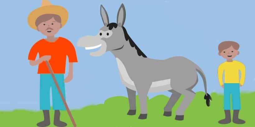El cuento tradicional de El señor, el niño y el burro