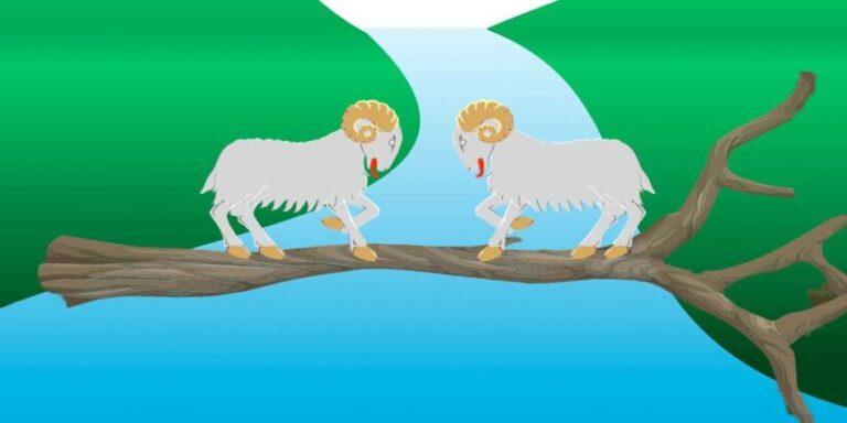 Las dos cabras, una fábula de Esopo sobre la terquedad