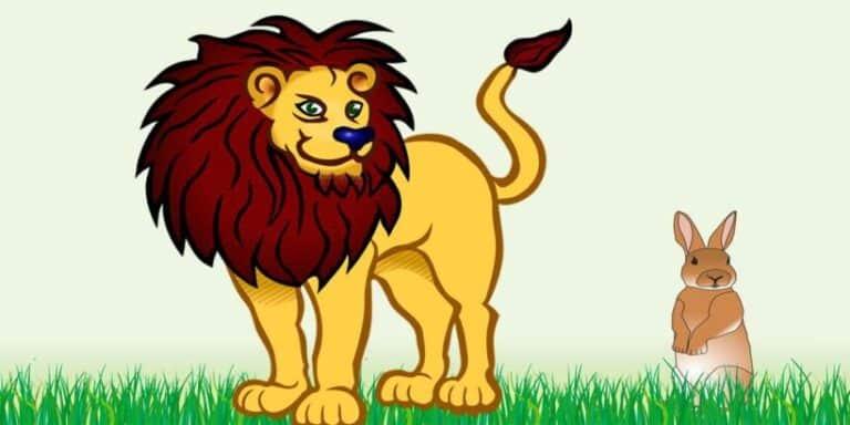 Fábula corta para niños sobre la astucia: El león y la astuta liebre