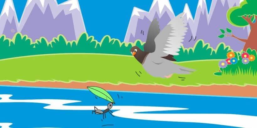 La paloma y la hormiga, una fábula de Esopo para niños