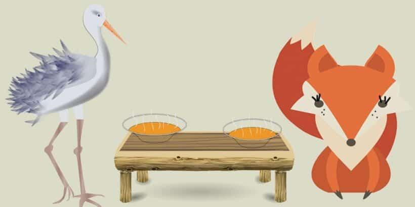 La zorra y la cigüeña, una fábula corta para niños con valores