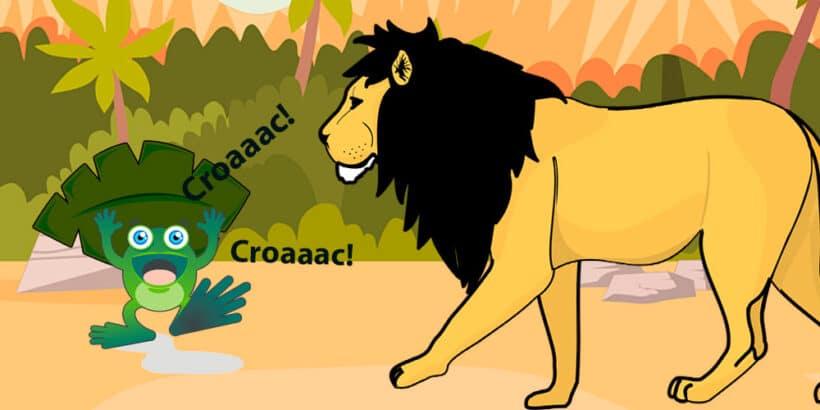 La rana gritona y el león, una fábula corta sobre la vanidad
