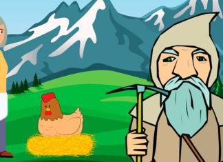 La vieja dama y su gallina, un cuento de hadas para niños