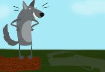 Fábula de Esopo para niños: El lobo orgulloso de su sombra y el león