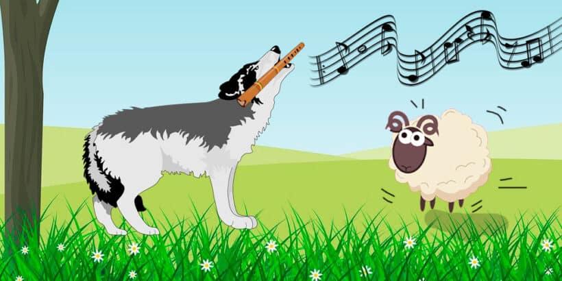 El cabrito y el lobo flautista, una fábula corta sobre el ingenio para niños