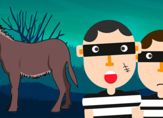 La fábula Los ladrones y el asno