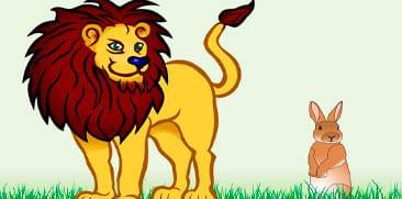 Fábula del león y la astuta liebre