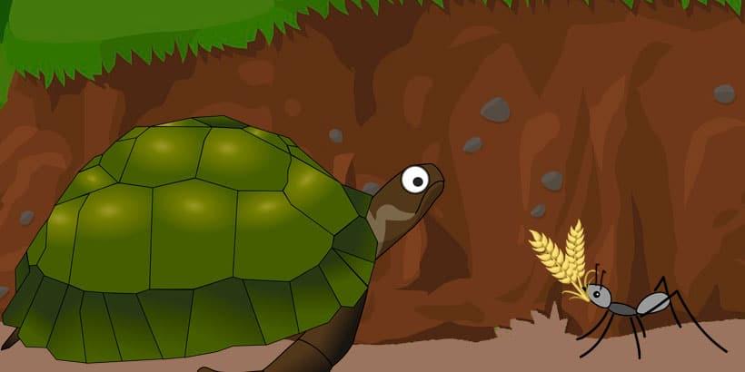 La tortuga y la hormiga, una fábula sobre la pereza y sus consecuencias