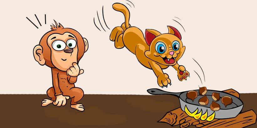 El mono y el gato, una fábula de Jean de La Fontaine