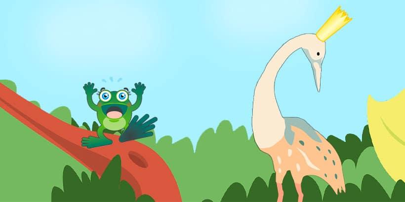 La grulla coronada y la rana, un cuento africano