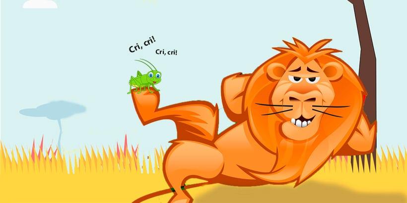 El cuento de la guerra del grillo y el león