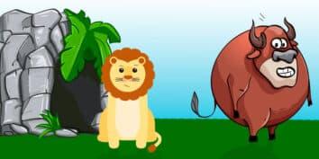 El león y el toro, una fábula de Esopo para niños